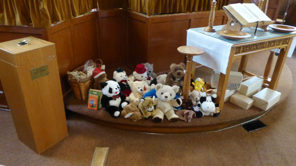 A great collection of stuffed animals donated by members of the congregation. They were donated to the police to be used to give to kids when involved in an accident.