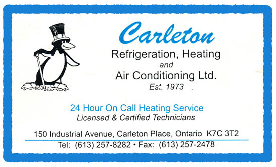 Thank you Carleton Refrigeration for taking good care of our heating system.