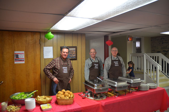 The buffet serving table at a spaghetti supper in March 2015.