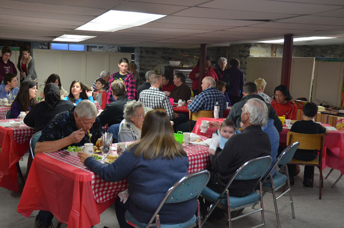 View of the centre area at the March 2015 spaghetti supper.