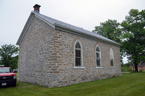 A view of the rear of Prospect Church shows the position of windows behind the pulpit area.