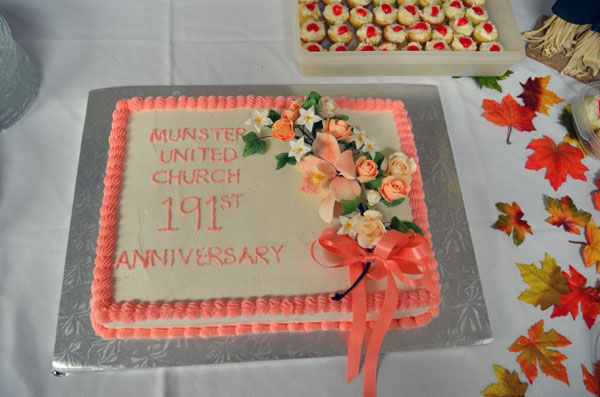 Coincident with the dedication device was the 191st anniversary of the Munster United Church congregation.This is the cake Dori Mckenzie baked and decorated for the anniversary occasion.